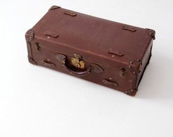 vintage leather suitcase, brown luggage, stacking suitcase storage