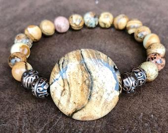 Picture jasper gemstone stretch yoga bracelet