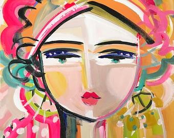 "Warrior Girl Print, paper or canvas, pink and orange, woman portrait, ""Tye"""