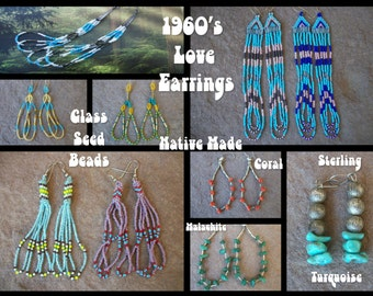 1960s Native American BEADED LOVE EARRINGS Long Dangle Boho Hoops Sterling Silver Turquoise ~ Choice Coral Malachite Nugget Glass Beads