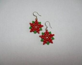 Poinsettia earrings, Christmas jewelry