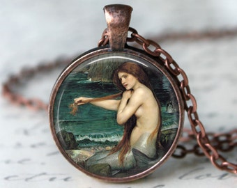 A Mermaid • John William Waterhouse • Famous Painting • Romantic Gifts • Pre Raphaelites • Valentine Jewelry • Medieval Jewelry • Goddess