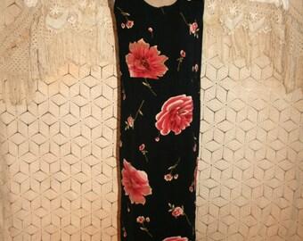Sleeveless Maxi Dress Long Floral Dress Summer Dress Shift Dress Black Pink Roses Womens Dresses Large Beach Dress Vintage Clothing