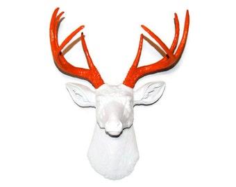 Fake Deer Head Wall Mount - White and Fire Orange - Faux Taxidermy Deer Head Wall Mount D0122