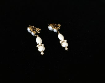 Vintage Clip On Earrings, Dangle, Drop, White with Goldtone Backing