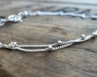 Anklet Design Your Own Series -  2 strand Sterling Silver Satellite Chain