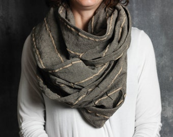 Long Cowl in Gray Stripes- Oversized, Infinity Scarf, Womens