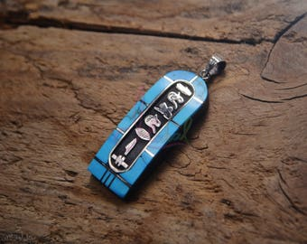 WORLD WIDE Express Shipping, Egyptian Personalized Blue Inlaid Wide Sterling Silver Cartouche Charm