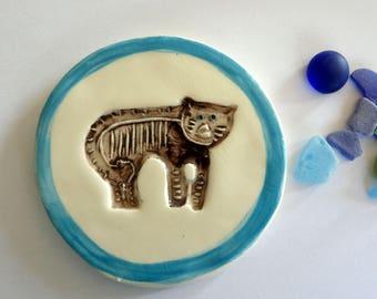 Cat ceramic glazed bottom of glass-bottle-table decoration