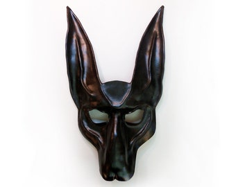 """Black Jackal Leather Mask    Anubis Egypt Egyptian Dog wide elastic straps  14"""" tall entirely handcrafted"""