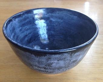 Medium Handmade Ceramic Black and White Speckled Bowl