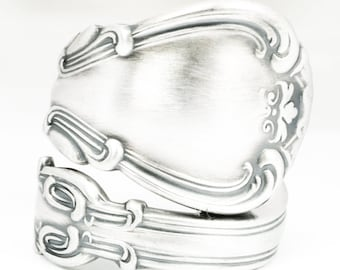 Chantilly Ring, Sterling Silver Spoon Ring, Handmade Victorian Gift for Her or Him, Gorham Chantilly Silver 1895, Adjustable Ring Size, 7123