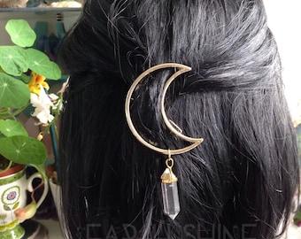 GOLD Moon Crystal hair clip, The ORIGINAL crystal Moon hair clip, crescent hair barrette with gemstone dangle (original design)