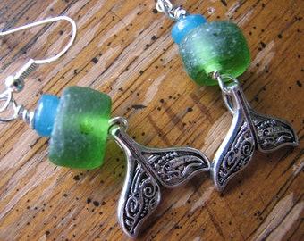 Whale Tail Earrings - Green Sea Glass, Silver Dangle, Tribal Design, Blue, Sea Life