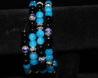 Midnight blue beaded memory wire bracelet