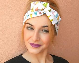 Girl Headband, Colorful headband, wire headband, bow headband, Top Knot Headband, Teen Headband, vintage headband, teen head scarf, turban