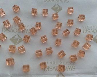 24 pieces Vintage Swarovski #5601 4mm Crystal Light Peach Cube Square Faceted Beads