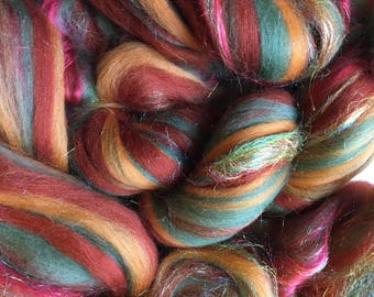 Shimmer Amber - Merino Wool/Silk/Trilobal Mix for Needle Felting, Wet Felting & Spinning approx 45gm