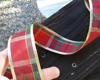 Red Christmas Ribbon: Red, Green, and Gold Plaid Print Wire Edged Ribbon with gold edge - 1 yard - 1 1/2 inch wide
