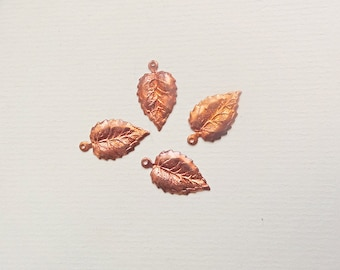 Vintage copper leaves drops charms,  for jewelry crafts scrapbooking, fall christmas decoration, set of 15
