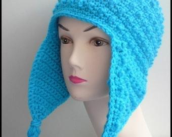 PATTERN - Crochet Hori Bobbles Earflap Hat - Free International Shipping
