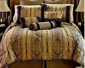 Chris Madden EIFFEL Damask 7 pc. Comforter Purple Full Set BONUS Valance NEW