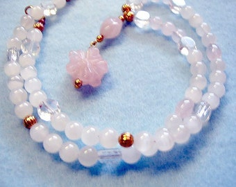 Carved Rose Quartz Flower Pendant and Pink Stone Bead Necklace, Handmade Beaded Necklace