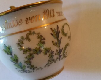 """Antique Memory Cup 100 Year Commemorative Cup Bone China Germany 1813 - 1913 Hand Painted Laurel Numerals Interior Painted Gold Leaf 2 1/2"""""""