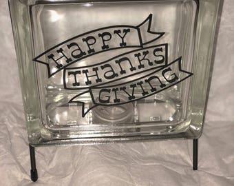 Glass Block Happy thanksgiving