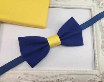 Set bow tie and Pocket costume blue and yellow - man / baby / children
