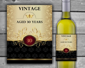 30th Birthday Wine Label - PRINTABLE - 30TH Anniversary - Wine Bottle Label - INSTANT DOWNLOAD - Vintage 30 Years - 00150