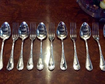 Christofle Rubans Antique Silver Dinner Forks and Spiins