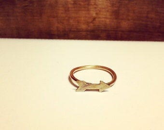 ONWARD AND UPWARD handforged Bronze arrow stacking ring.
