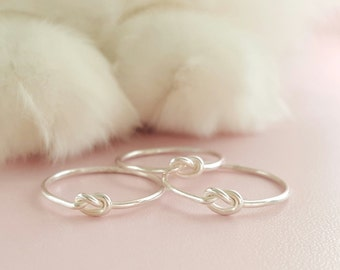 Silver Love Knot Ring gifts for mum tiny friendship ring super thin sterling silver stacking ring love knot thumb ring midi ring pinky ring