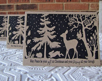Christmas Note Cards Forest Silhouette set of 5