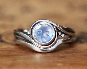 Moonstone engagement ring set, moonstone bridal set, moonstone wedding ring set, unique alternative engagement ring, pirouette custom