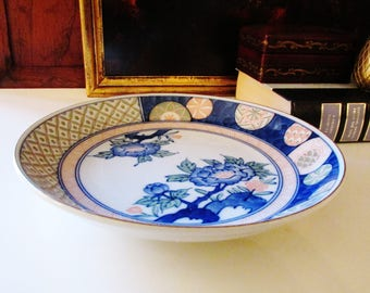Vintage Chinoiserie Dish, Palm Beach Decor, Hollywood Regency, Coffee Table Decor, Andrea by Sadek, Peach and Blue Dish