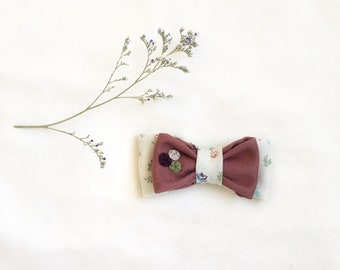 The Double Bow | Fern and Floral/Dusty Rose | Rosette Trio Hair Bow. Fabric Bow. Hair Clip. Baby Headband. Baby Shower Gift. Hand Embroidery