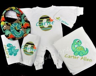 Personalized Dinosaur Baby Gift Set / Sleeper, Blanket, 2 Burpcloths and Bib
