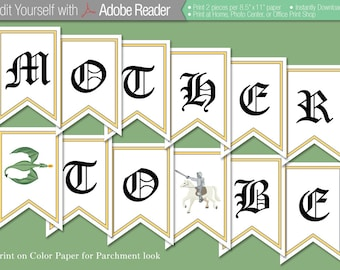 Editable Banner - Dragon and Knight Fantasy Instant Download Baby Shower or Birthday Party