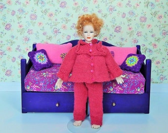 Dollhouse Miniature Hand Knit Woman's Pink Pajama's