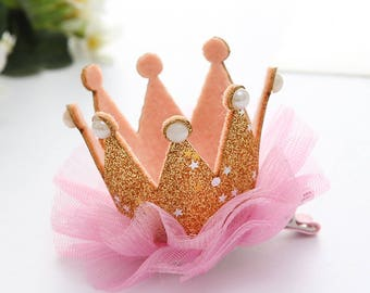 hair Crown Princess gold glitter tulle and pearls rhinestones