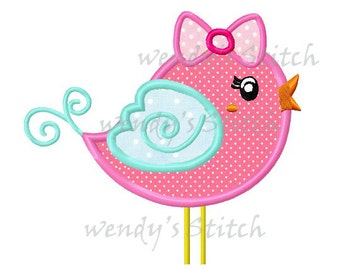 Swirly girl bird applique machine embroidery design