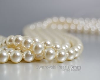 50pcs 8mm Swarovski Pearls Ivory Cream Pearls in Round Pearl Beads Glass Pearls DIY Weddings Bridal Pearls Elements 5810