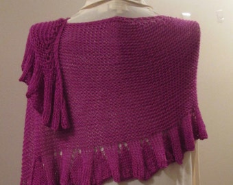 Silk Wool Ruffled Stole in Magenta
