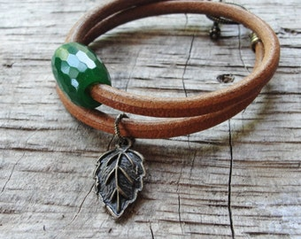 Leather Agate Bracelet, Green Rustic Gemstone Jewelry, Leather and Brass