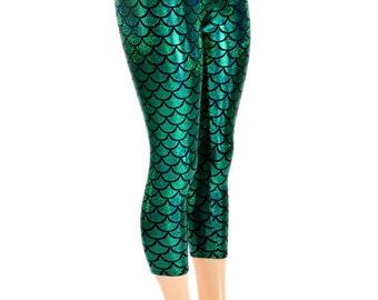 Capri Length Emerald Green Holographic Metallic Dragon Scale Mermaid Holographic Lycra Spandex  Leggings  -150402