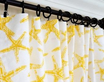"Yellow Curtains.Yellow Grey Window Curtain.Nautical Curtains.Yellow Nursery Curtain.Kitchen Curtain.Yellow Drapes.63"" 84"" 96"".."