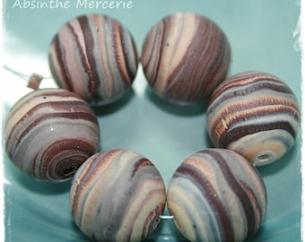 -6 beads in polymer clay fimo - 14mm - layer - DRILLED - set of 6-