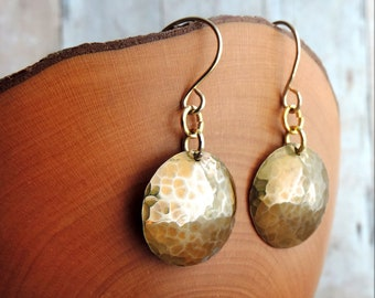 Textured Brass Disc Earrings Hammered and Domed Hanging From Gold Filled Ear Wires
